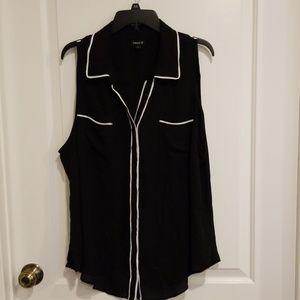 Torrid Black and White Sleevless Semi Sheer Top